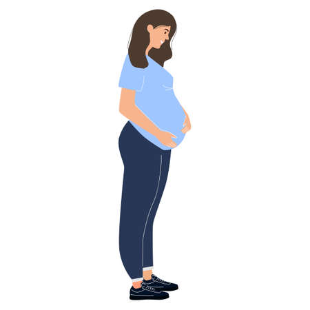Pregnant woman. Vector illustration with a character in a modern flat style. For your design