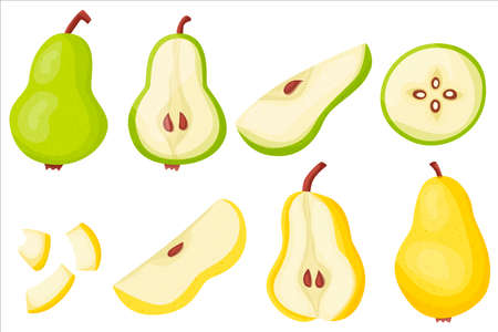 Pear set. Duchess. Delicious and healthy summer fruits. Proper nutrition. Jam. The juice. Vector illustration for your design in flat style.