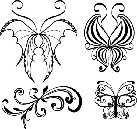 tattoo from butterflys and pattern photo