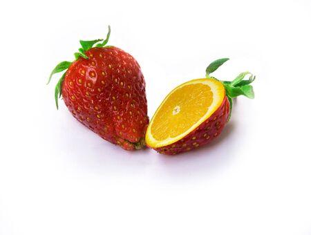 ripe strawberries isolated over white photo