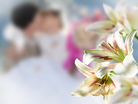 Wedding flowers white on background happy kiss people photo