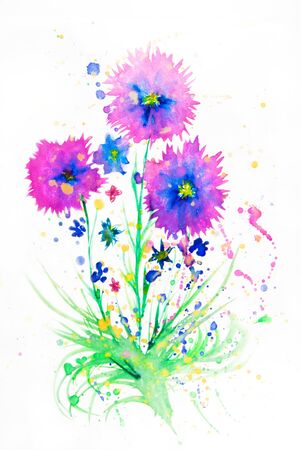Flowers pink with green grass watercolor on white background photo