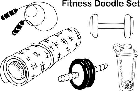 A set of Doodle fitness elements. Sports Mat, bottle, dumbbells and skipping rope hand-drawn. Vector graphics
