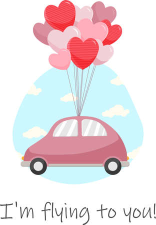 The car flies on balloons in the form of hearts. Vector illustration
