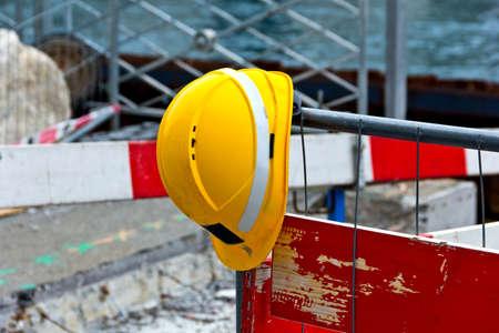 Helmet on a fence