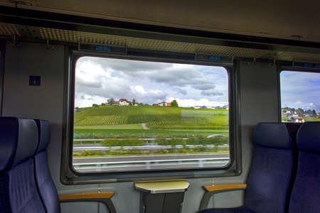 View Europe from train window in sunny day