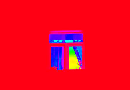 Multicolor nice square window on bright red background photo