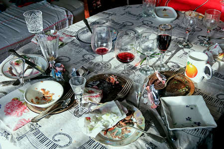 leavings: Really mess on morning table after big party