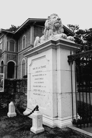 grange: Main entrance to Parc de la Grange, Geneva, black and white