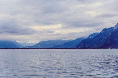 vevey: Lake Geneva and the mountains in Vevey, Switzerland, october 6, 2013