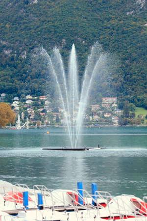 beauty fountain: Beauty fountain on lake Geneva in Annecy, France