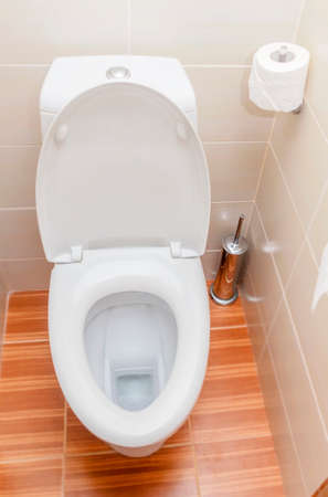 Pure white toilet in bathroom for comfort photo
