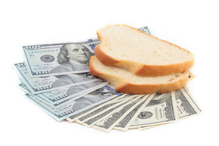 two dollar bill: Dollar bill and two pieces of white bread isolation on white background