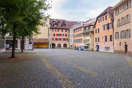 vevey: Vevey, Switzerland - October 6, 2014. Empty old little square in center of Vevey, Switzerland, old town