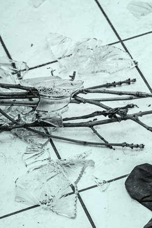 shards: Shards of broken crystal vase on floor