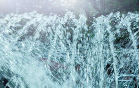 beaty: Beaty blue jet fountain in summer sunny day
