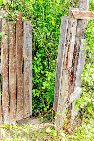 the past: Old wooden gate at summer garden in past Stock Photo