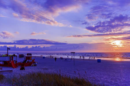 jurmala: Jurmala, Latvia - July, 20, 2014: summer beach at sunset  area in Jurmala, European Latvian resort, is editorial picture