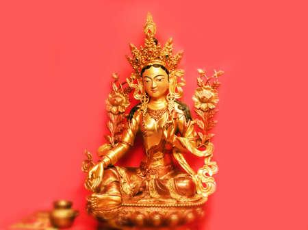 tara: Nice gold statuette of goddess Tara from Nepal