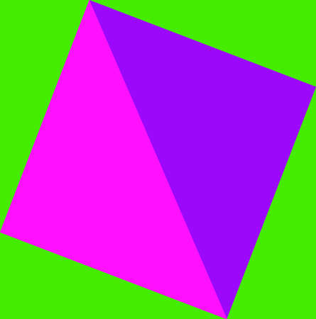 lilla: Abstract geometric composition in lilla and pink on green background