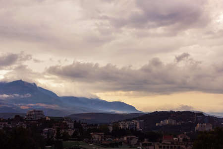 Alushta mountains city, Crimea, Russia - august 13, 2016: view of panorame before storm Stock Photo - 116797151