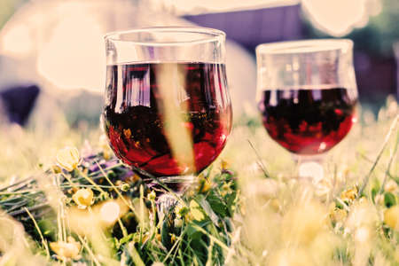 Two glasses with red wine in summer happy grass