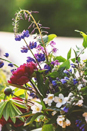 Pretty summer bouquet with multi colours of flowers for best mood Stock Photo