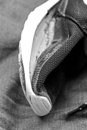 Old sneaker like symbol pf history and past of life in black and white