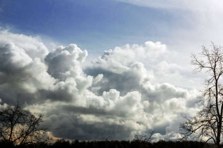 Deep sky in clouds at spring day
