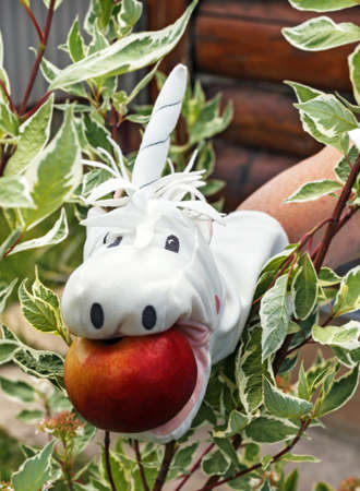 White toy on hand unicorn with apple