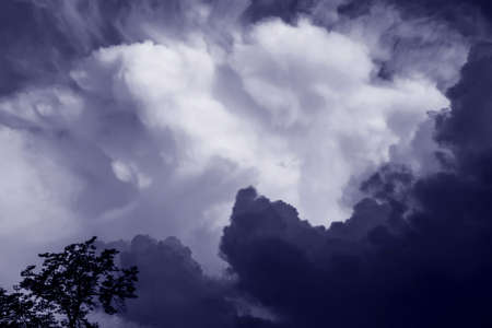 Dark blue clouds before storm at rainy weather