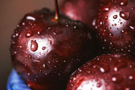 Deep red ripe sweet cherry close up Stock Photo