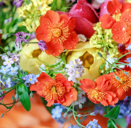 Nice bright bouquet with forget-me-nots for best emotions Stock Photo - 106383648