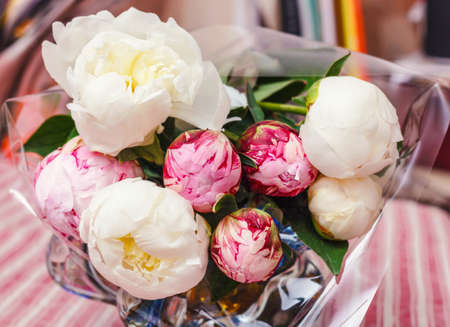 Beauty delicate bouquet of white and pink peonies