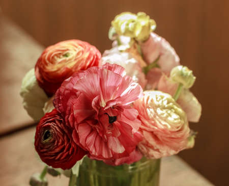Pretty bouquet of colorful ranunculus at day Stock Photo - 107026746