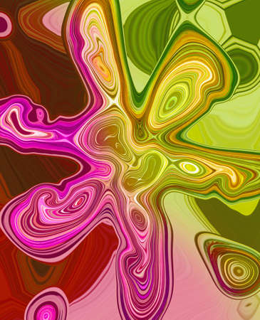 Abstract multi-colored flower at pink, green and lilla colours