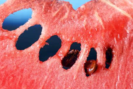 Ripe fresh red juicy watermelon close up Stock Photo
