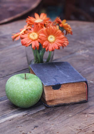 Still life with old book, orange flowers and green apple