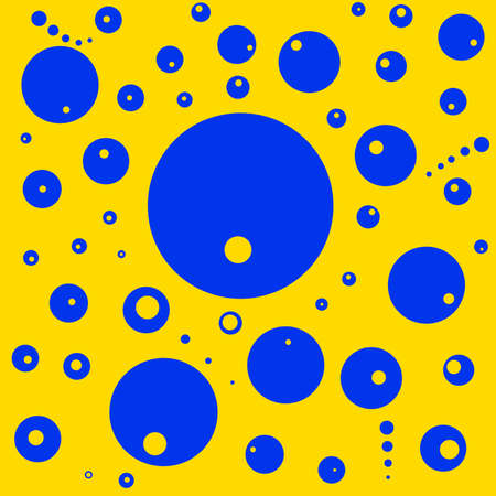 Abstract blue little and big balls on yellow background