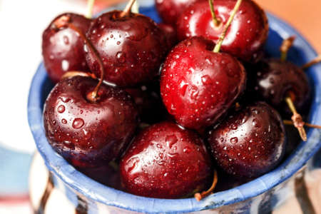 Red fresh ripe sweet cherries large for good tasty food Stock Photo - 111104978