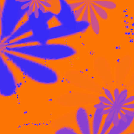 Pretty creative abstraction of blue colors on idea orange background