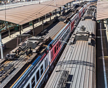 Roofs of trains on sunny summer day
