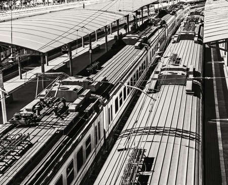 Roofs of trains on sunny day in black and white Stock Photo - 115113279