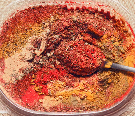 Beauty dry multicolored spices in powder for tasty cooking Stock Photo - 114741915