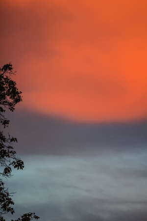 Gray scarlet sky before storm at summer evening Stock Photo - 114741955
