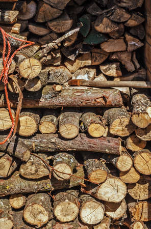 Composed of logs for winter at sunny day