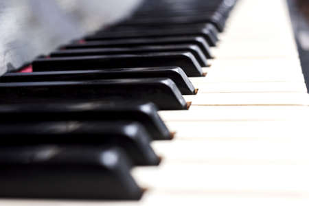 Pretty close up piano keys black and white Stock Photo - 114742016