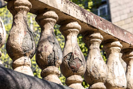 Old broken balusters at sunny weather like symbol of history Stock Photo - 114742061