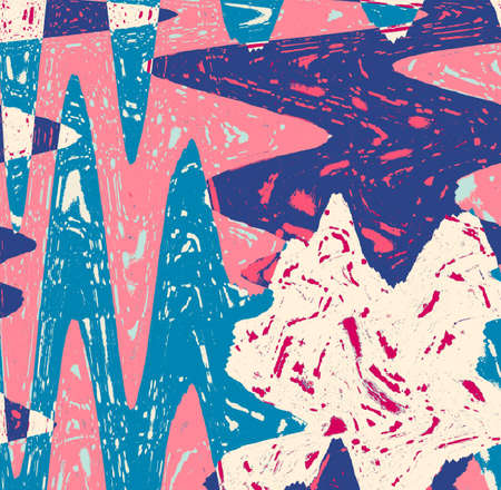 Crew abstraction in pink and blue with white