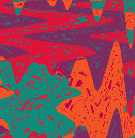 Crew abstraction in orange and red with green and lilla colors